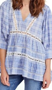 Free People Time Out Lace Blue Tunic Sz S